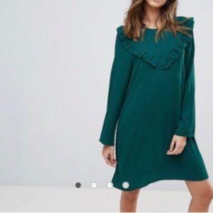 BRAVE SOUL FRILL SWING DRESS green long sleeve